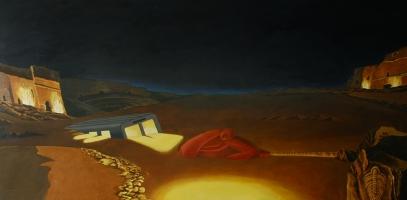 1992-lawrence-ritorna-nel-deserto-notte-cm-90x180-olio-su-tela